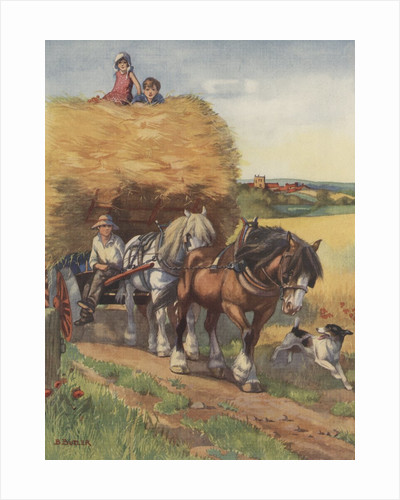 Illustration of horses pulling hay wagon by Corbis