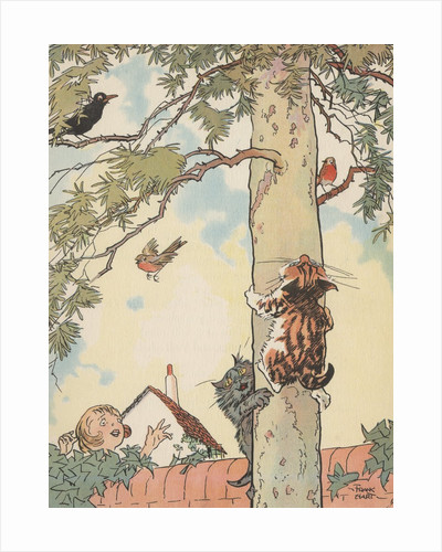 Illustration of cats chasing birds up tree by Corbis