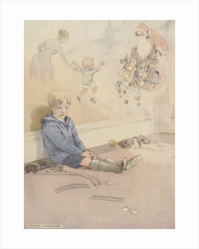 Illustration of boy daydreaming about Santa Claus by Corbis