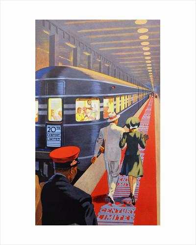 Couple walking toward passenger train by Corbis