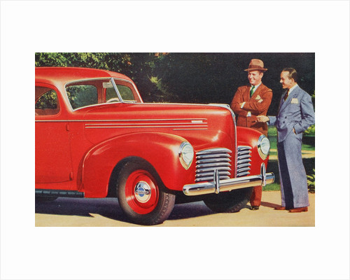 Men admiring Hudson automobile by Corbis