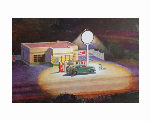 Gas station at night by Corbis