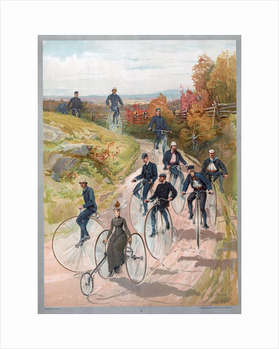 Group riding penny-farthing bicycles by Corbis