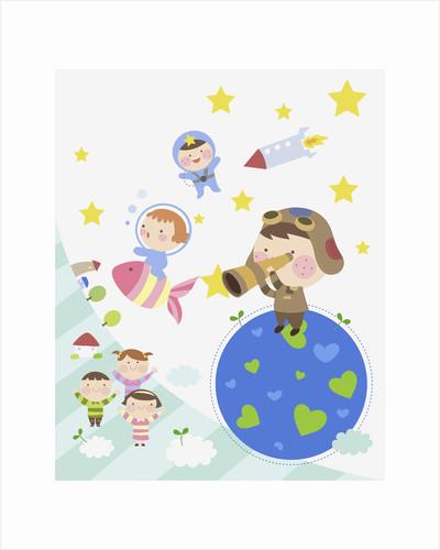 Kids exploring space by Corbis