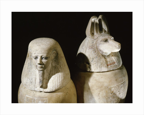 Ancient Egyptian limestone canopic jars by Corbis