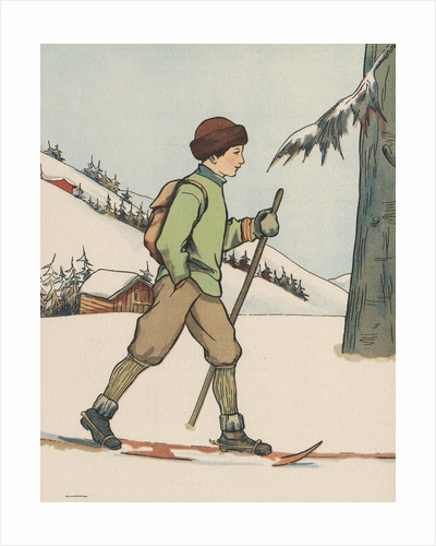Boy cross-country skiing by Corbis