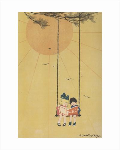 Children reading book on swing by Corbis