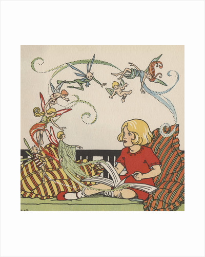 Girl reading book on fairies by Corbis