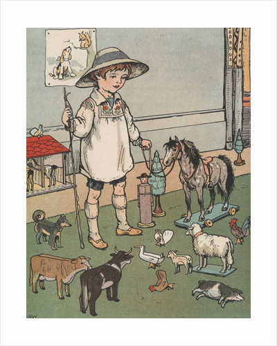 Boy playing with toy farm animals by Corbis