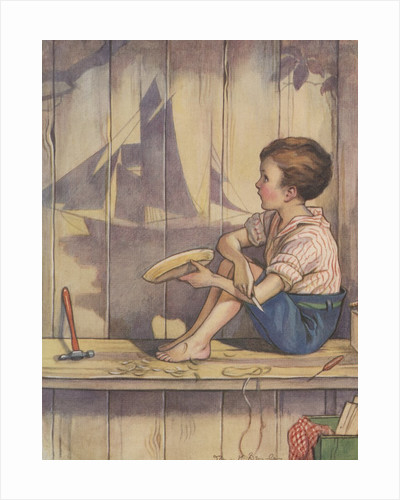 Boy carving wood ship by Corbis