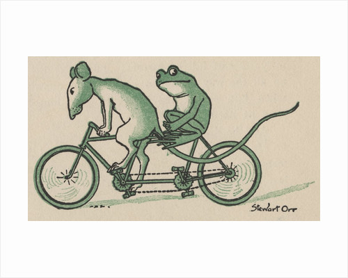 Rat and frog riding tandem bicycle by Corbis