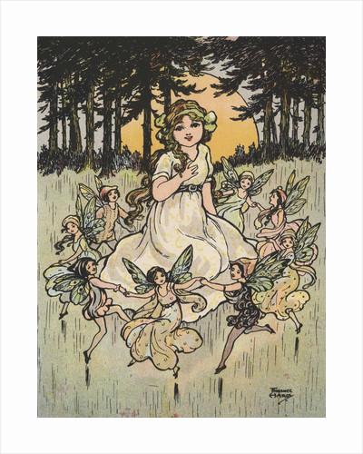 Fairies dancing around girl by Corbis