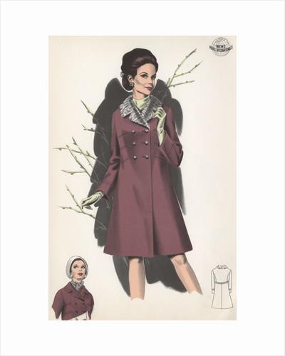 Model wearing coat with fur collar by Corbis
