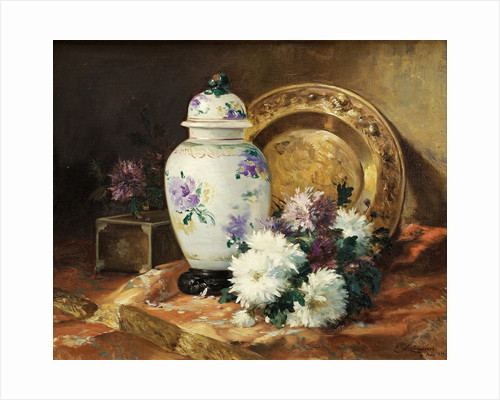 Still Life with an Urn and Mums by Eugene Henri Cauchois