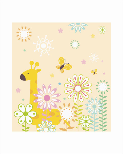 Flowers and giraffe by Corbis