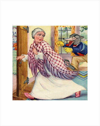 Big Bad Wolf chasing grandmother by Corbis