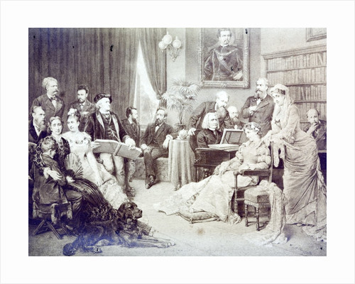 1870's musical soirée. List is at the piano and Wagner is reading the score. Other musicaians and their families are gathered around. by Corbis
