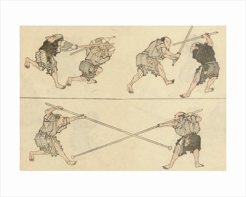 Martial artists fighting by Katsushika Hokusai