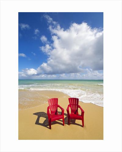 Beach chairs beckon on Baldwin Beach on the north shore of Maui, Hawaii by Corbis
