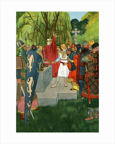 King Arthur pulling the sword from the stone by Corbis