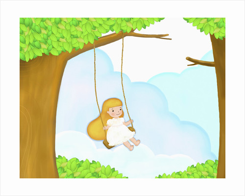 The image of girl on the swing hung upon the tree by Corbis