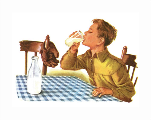 Young boy drinking a glass of milk by Corbis