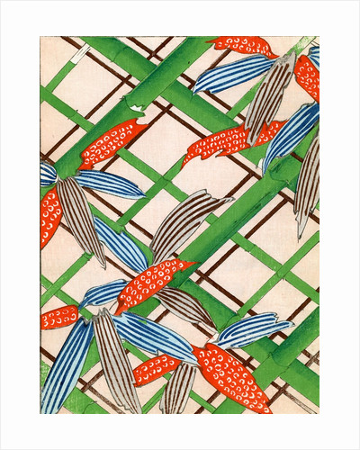 Woodblock print of bamboo canes and leaves by Corbis