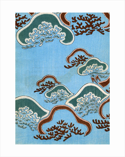 Woodblock print of coral under the ocean by Corbis