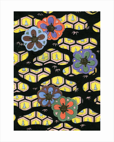 Woodblock print of flowers on a honeycomb background by Corbis