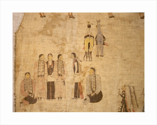Detail of Plains Native American cloth painting by Corbis