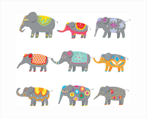 Colorful elephants by Corbis