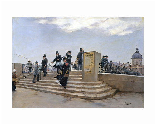 A Windy Day on the Pont des Arts, Paris by Jean Beraud