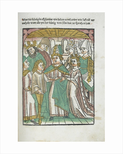 Woodcut illustration of marriage ceremony from Medieval book by Corbis