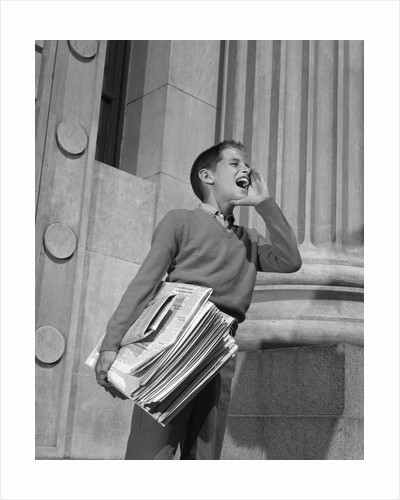 1950s 1960s paperboy selling newspapers shouting extra extra by Corbis