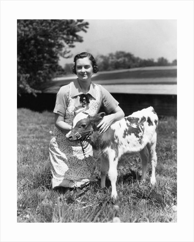 1940s 1950s farm woman in apron kneeling in the grass with young jersey calf by Corbis