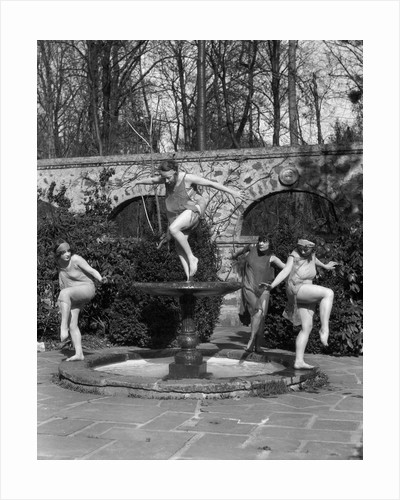 1910s amateur theatrics of greek mythology hylas kidnapped three female sprites water nymphs dancing in fountain spring of pegae by Corbis