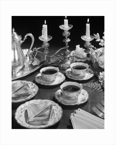 1950s elegant soup & sandwiches lunch by Corbis