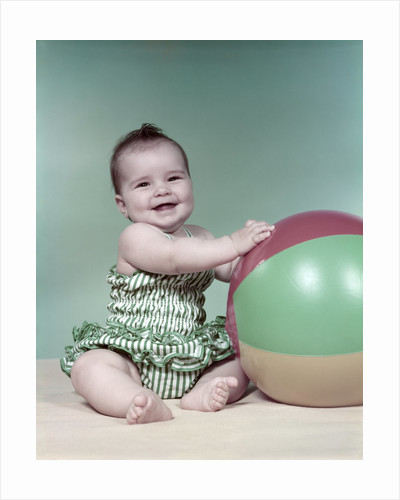 1960s baby beach ball bathing suit by Corbis