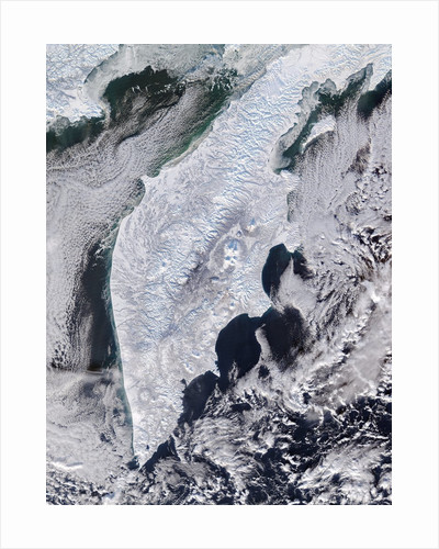 Satellite view of the Kamchatka peninsula in winter by Corbis