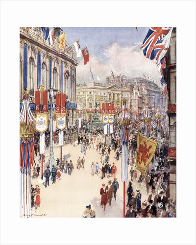 Piccadilly Circus in London Decorated for the Coronation of King George VI in 1937 by Corbis