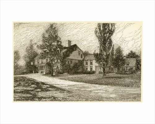 Etching of Longfellow's Wayside Inn in 1845 by Corbis