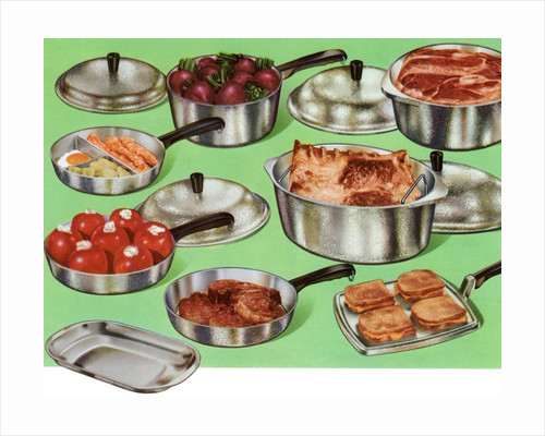 1950s set of pots and pans by Corbis
