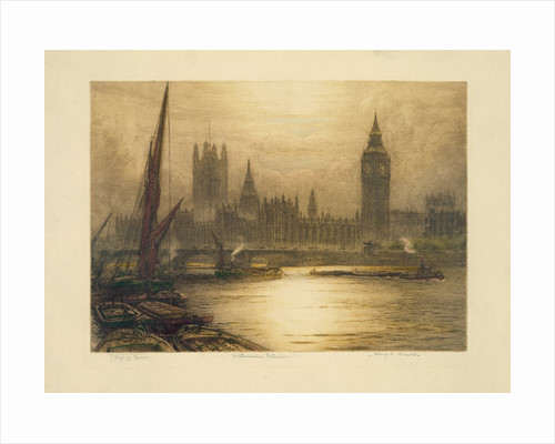 Color etching of Westminster by Corbis