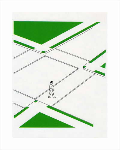 1960s Illustration of a Pedestrian Crossing the Street. by Corbis
