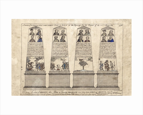 Etching of obelisk erected on Boston Common by Paul Revere