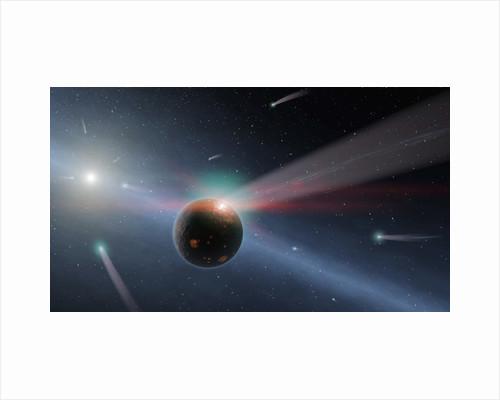 Artist concept of comets impacting Eta Corvi by Corbis