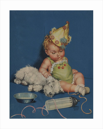 Sleeping baby in party hat with sleeping dog by Corbis