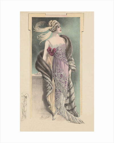 Woman modeling pink evening gown, fur stole and feathered headdress by Corbis