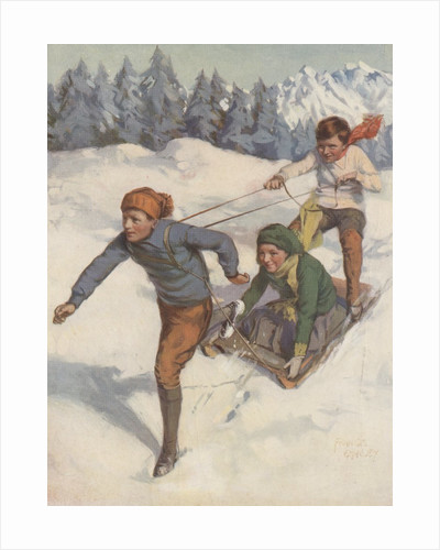 Boy pulling boy and girl on a sled by Corbis