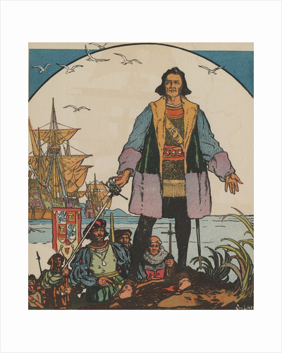 Christopher Columbus standing on shore by Corbis